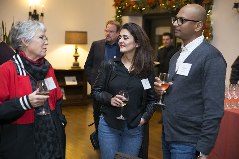 Photo of three alumni talking during the RISD in San Francisco reception