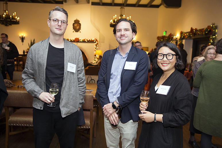 Photo of three alumni at the RISD in San Francisco reception