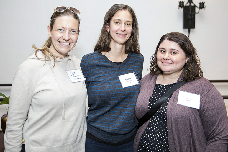 Photo of three alumnae at the RISD in San Francisco reception