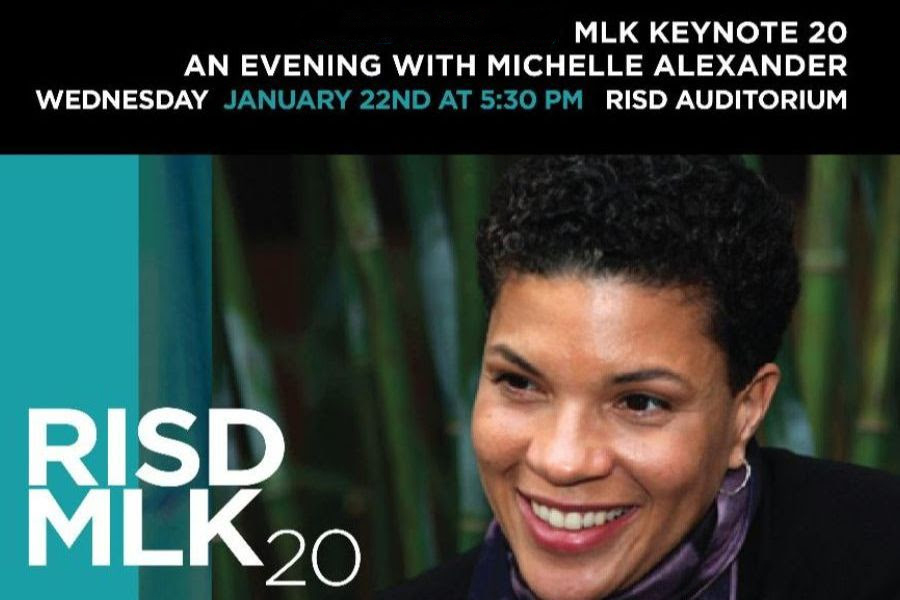poster with photo of Michele Alexander for her MLK lecture