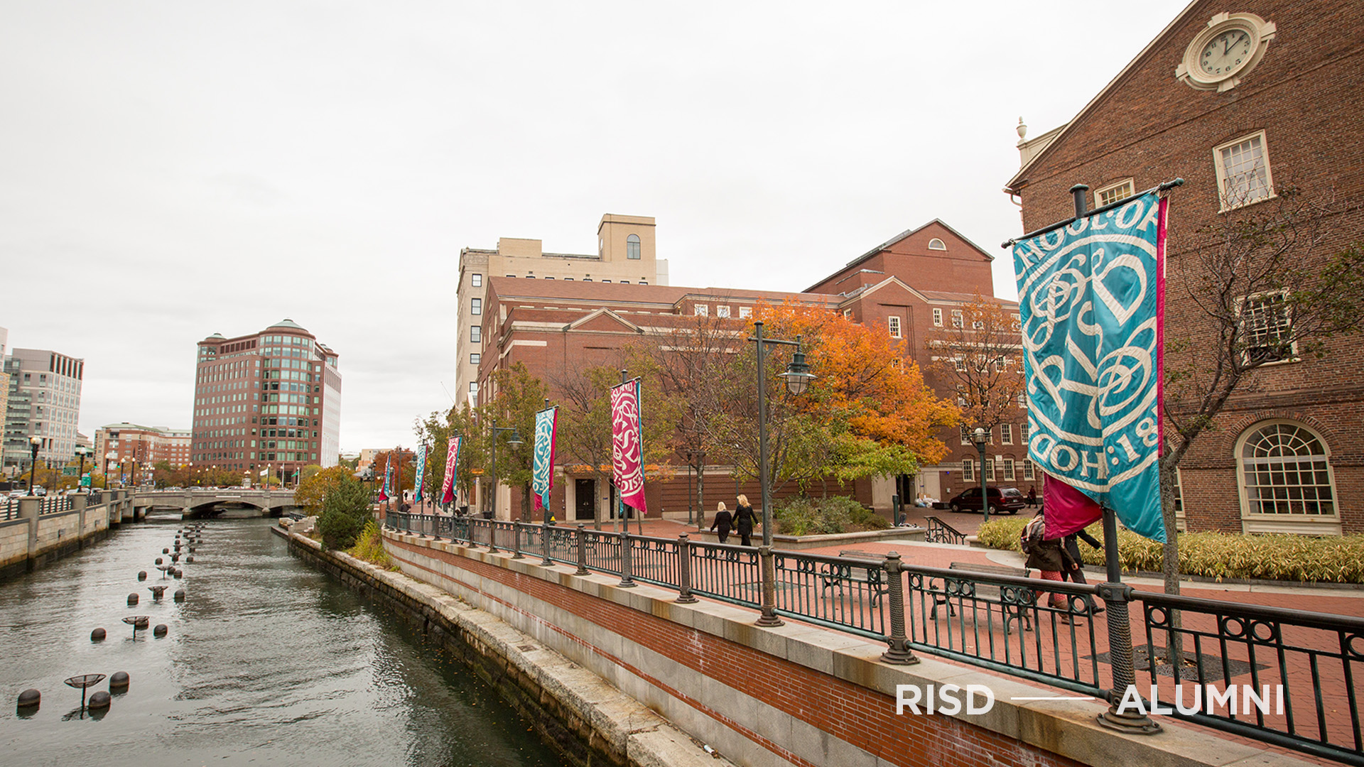 The Providence River and Canal Walk on a cloudy autumn day.