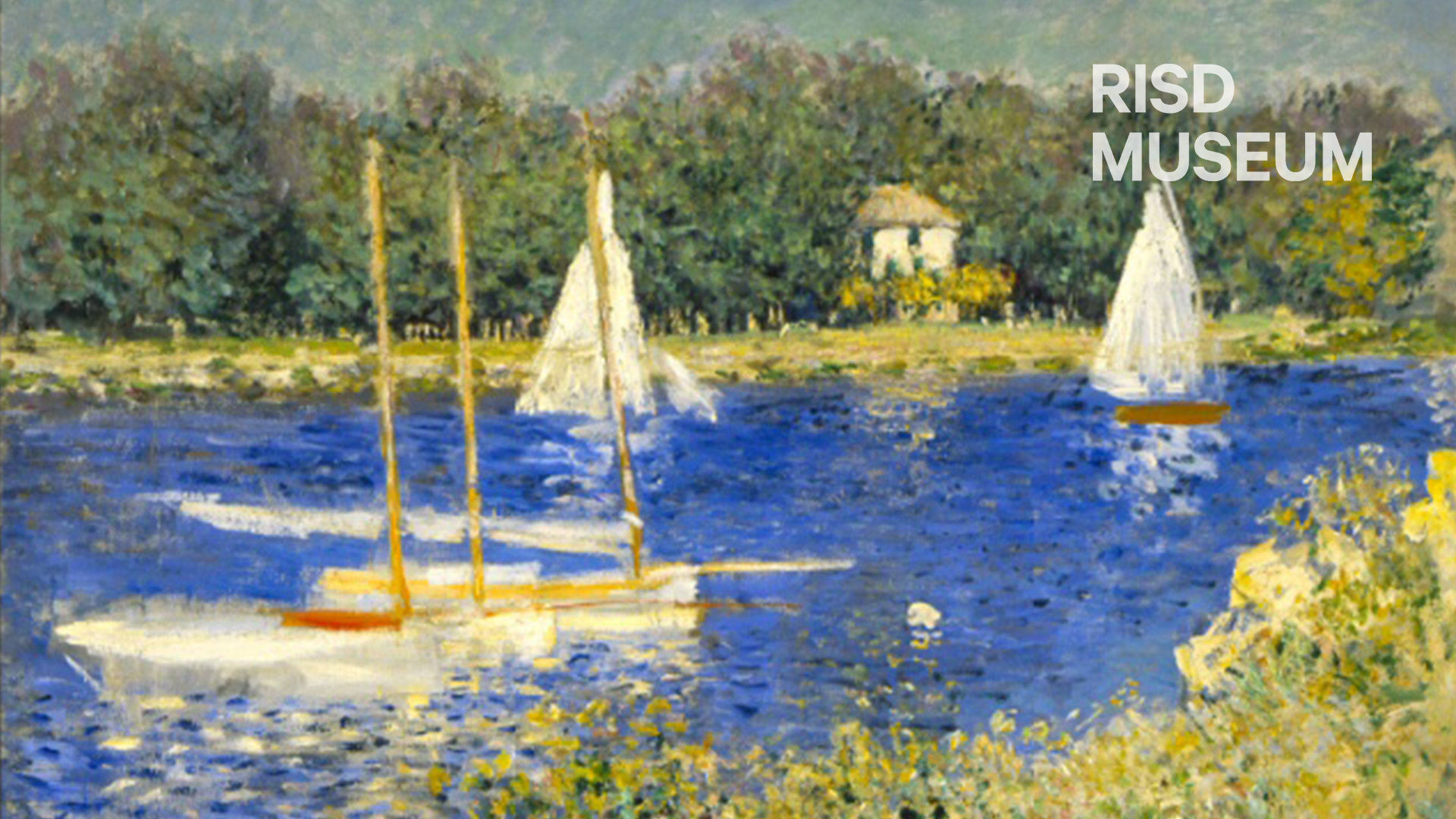 Zoom Background featuring The Basin at Argenteuil by Claude Monet