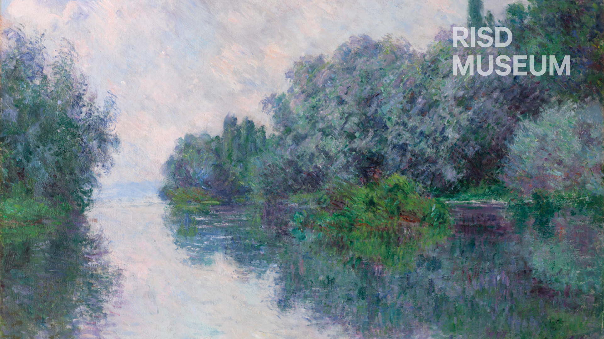 Zoom Background featuring The Seine at Giverny by Claude Monet